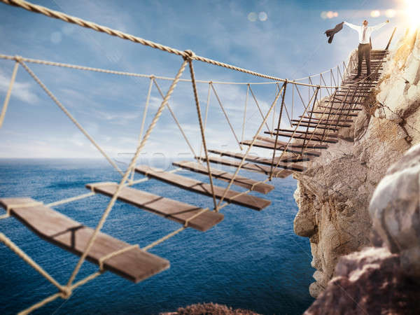Stock photo: 3D Rendering of exultation after overcoming an obstacle
