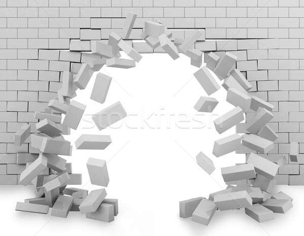 Wall broken through 3d rendering Stock photo © alphaspirit