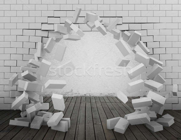 Tear down a wall 3d rendering Stock photo © alphaspirit
