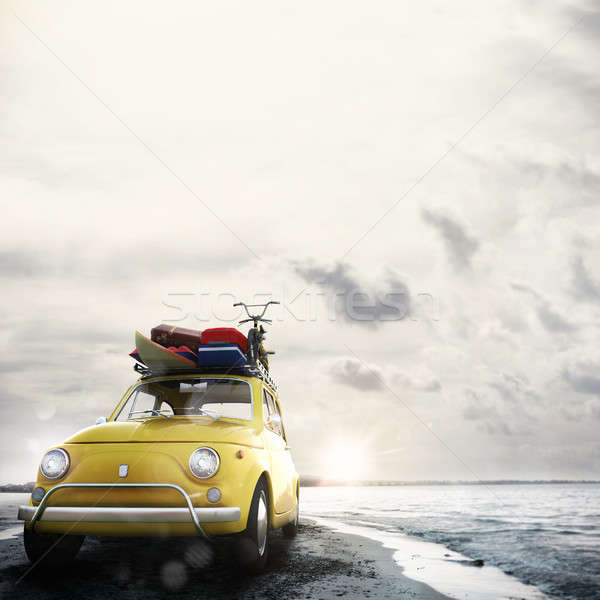 3D レンダリング 休日 道路 古い車 荷物 ストックフォト © alphaspirit