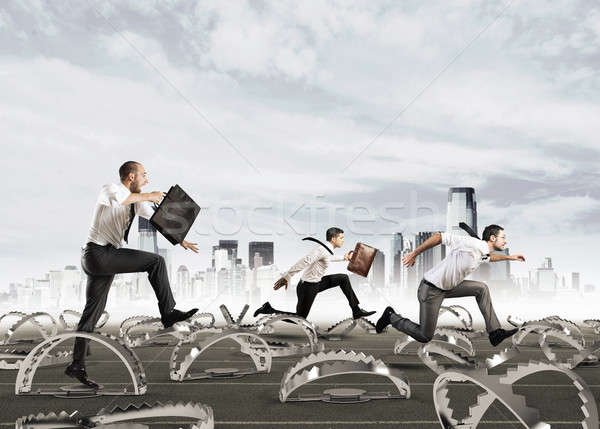 Men run in a thousand difficulties Stock photo © alphaspirit