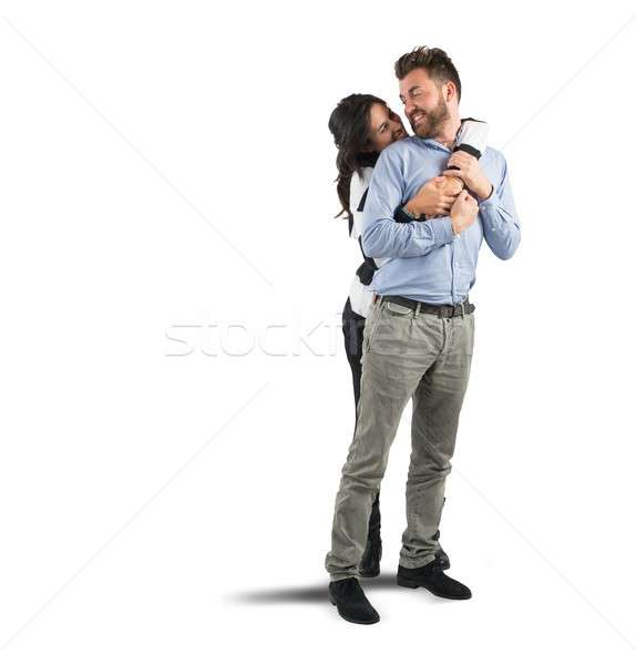 Young couple in love embracing with affection Stock photo © alphaspirit