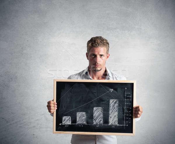 Pozytywny tendencja biznesmen pokaż tablicy działalności Zdjęcia stock © alphaspirit