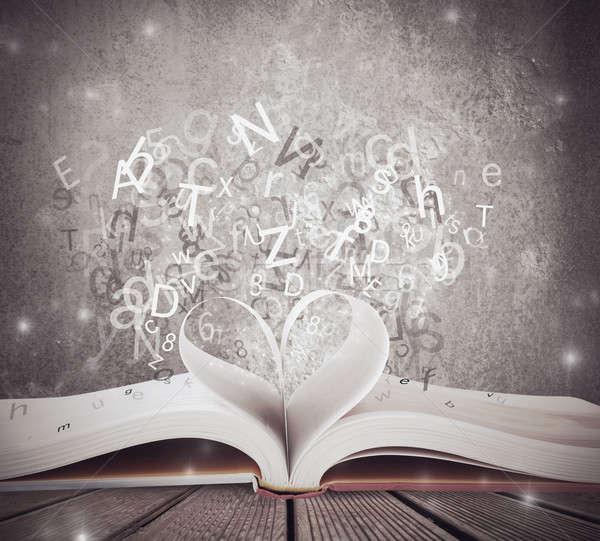 Miłości książki edukacji piśmie list biurko Zdjęcia stock © alphaspirit