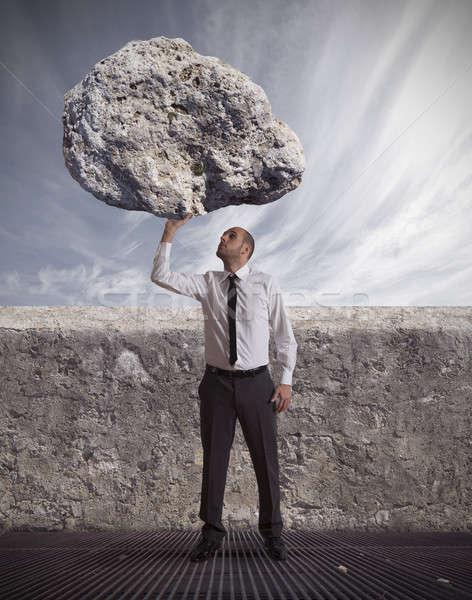 Siker elhatározás üzlet égbolt hegy üzletember Stock fotó © alphaspirit