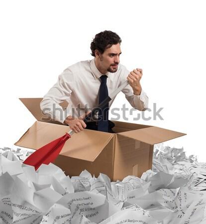 Navigeren bureaucratie man zee reizen boot Stockfoto © alphaspirit