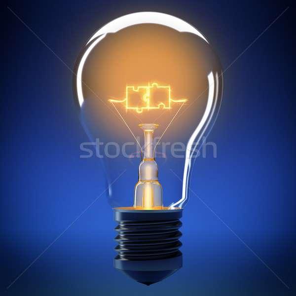 Bulb light puzzle 3D rendering Stock photo © alphaspirit