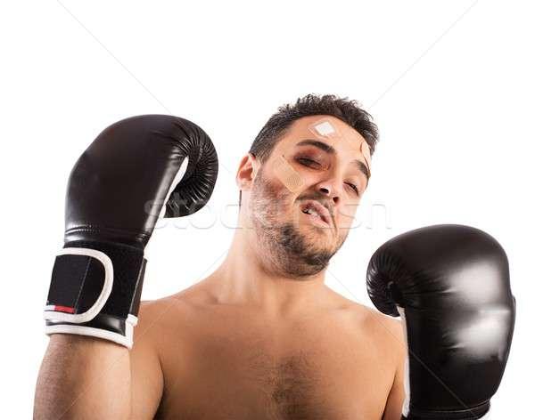 Vesztes boxoló sport képzés fájdalom félelem Stock fotó © alphaspirit