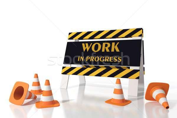 Trabalhar progresso estrada construção segurança Foto stock © alphaspirit