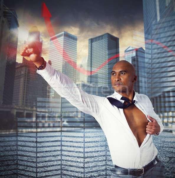 Warrior businessman as superhero Stock photo © alphaspirit