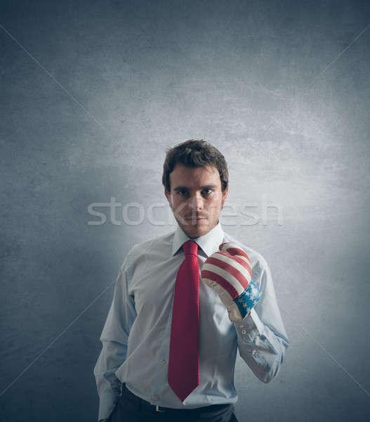 Businessman ready to fight Stock photo © alphaspirit