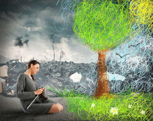 Varr természet szennyezés nő horgolás természetes Stock fotó © alphaspirit