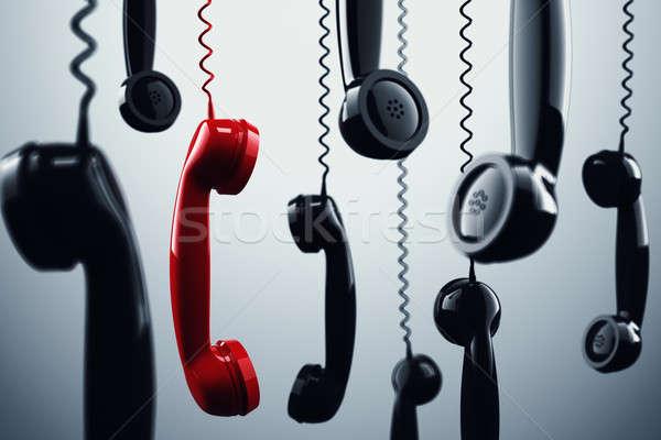 3D telefon kablo konuşma Stok fotoğraf © alphaspirit
