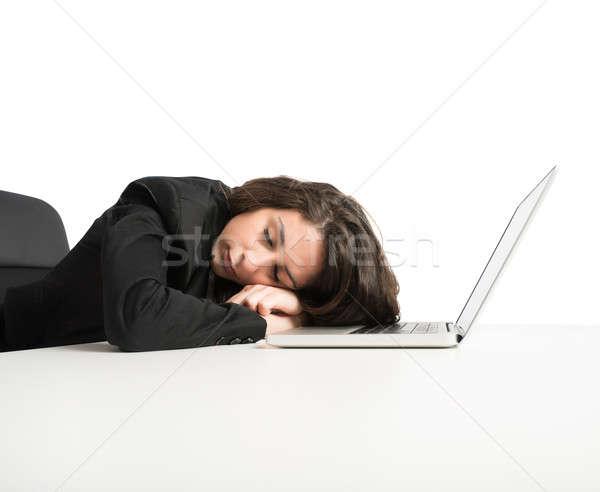 Yorgunluk kadın bitkin uyku bilgisayar çalışmak Stok fotoğraf © alphaspirit