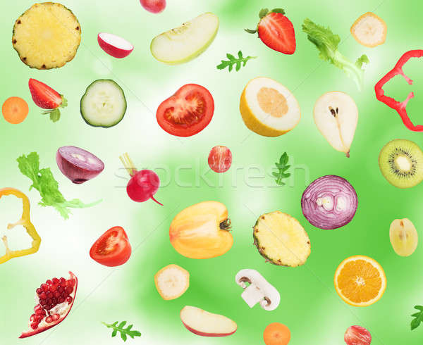 Fruits and vegetables background Stock photo © alphaspirit