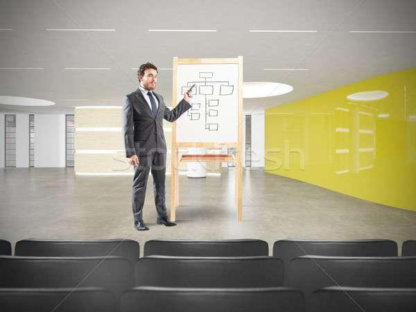 Işadamı toplantı çalışmak plan adam oda Stok fotoğraf © alphaspirit