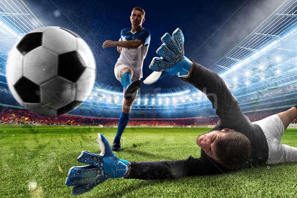 Portero pelota estadio partido de fútbol fútbol deporte Foto stock © alphaspirit