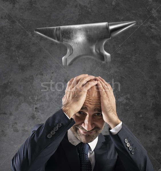 Nehéz karrier üzlet zuhan üllő férfi Stock fotó © alphaspirit