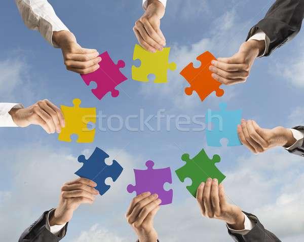Teamwerk integratie concept zakenman kleurrijk Stockfoto © alphaspirit