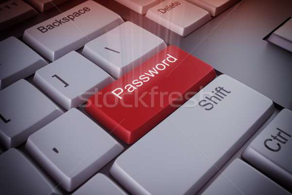 Senha chave vermelho negócio computador Foto stock © alphaspirit
