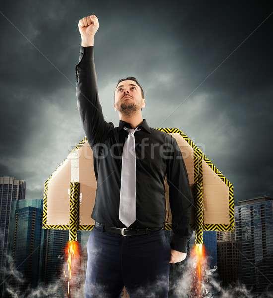 Volar poder empresario vuelo cartón alas Foto stock © alphaspirit