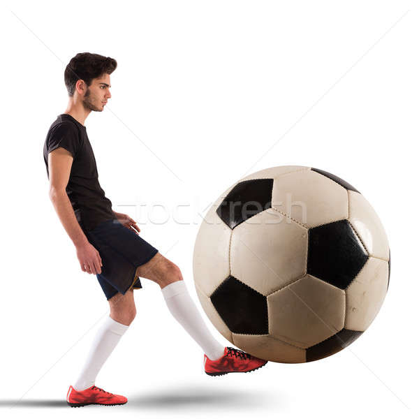 Grand adolescent footballeur football étudiant Photo stock © alphaspirit