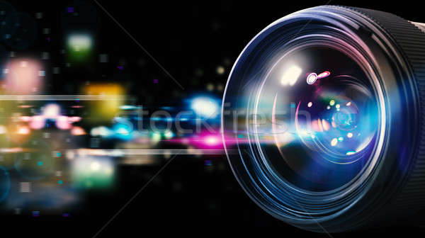 Profissional lente da câmera lente reflexo câmera efeitos de luz Foto stock © alphaspirit