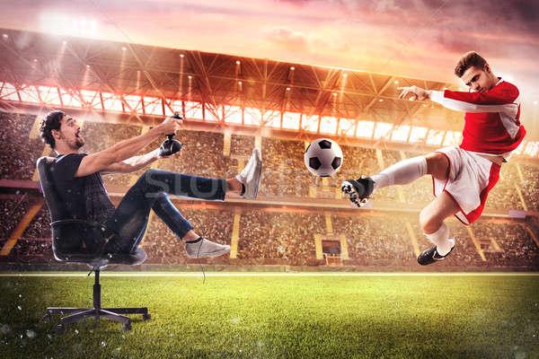 現実的な サッカー ビデオゲーム 少年 ジョイスティック サッカー ストックフォト © alphaspirit