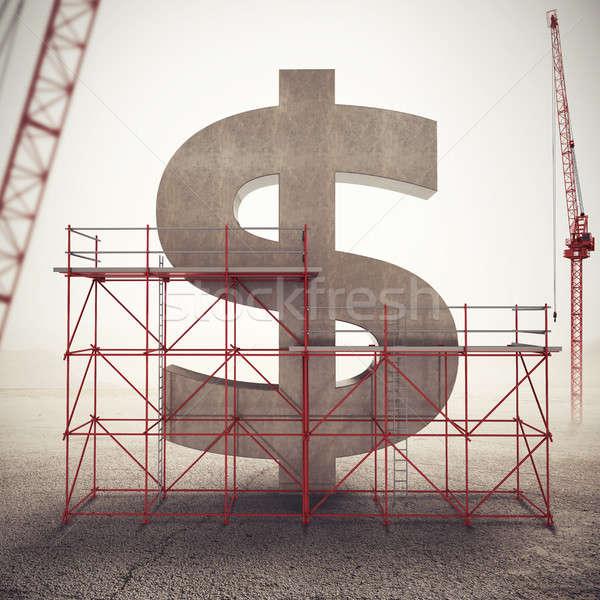 американский экономики 3D строительные леса стены Сток-фото © alphaspirit