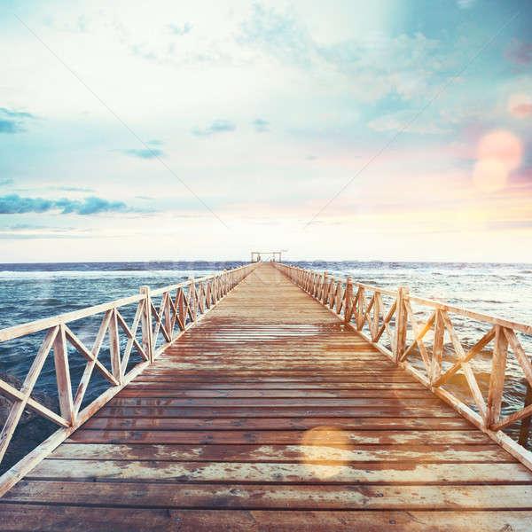 桟橋 海 日没 自由 リラックス 自然 ストックフォト © alphaspirit
