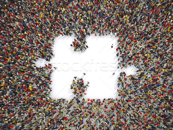 Group of peolpe together to form a piece of puzzle. 3D Rendering Stock photo © alphaspirit