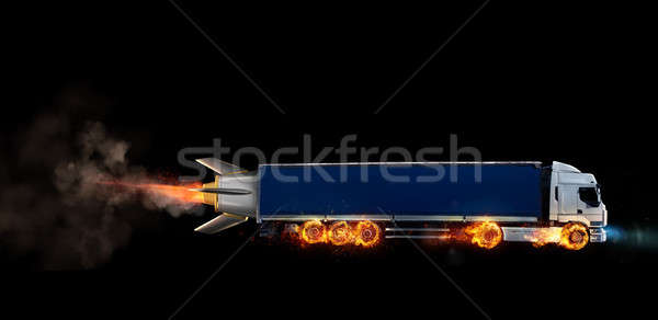 Super fast delivery of package service with a truck with wheels on fire Stock photo © alphaspirit