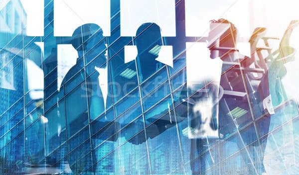 Biznesmenów pracy wraz biuro zespołowej współpraca Zdjęcia stock © alphaspirit