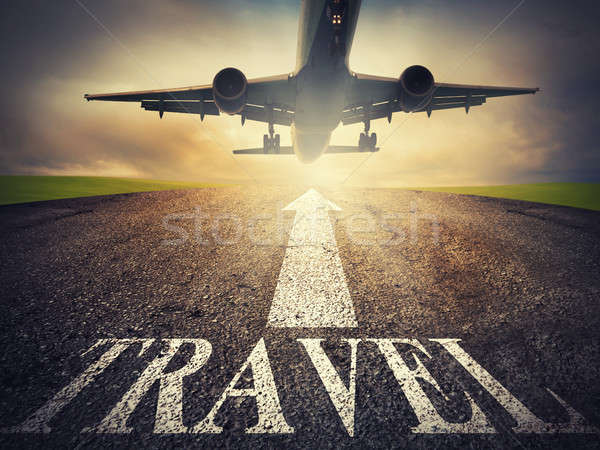 Airplane starts to fly. concept of travel way Stock photo © alphaspirit
