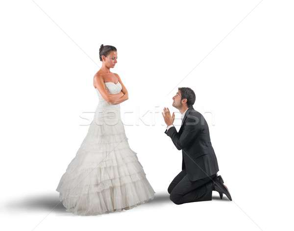 Férj imádkozik feleség esküvő nő férfi Stock fotó © alphaspirit