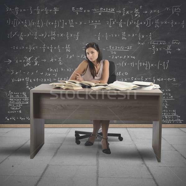 ヴィンテージ 数学 教師 ガラス 背景 デスク ストックフォト © alphaspirit