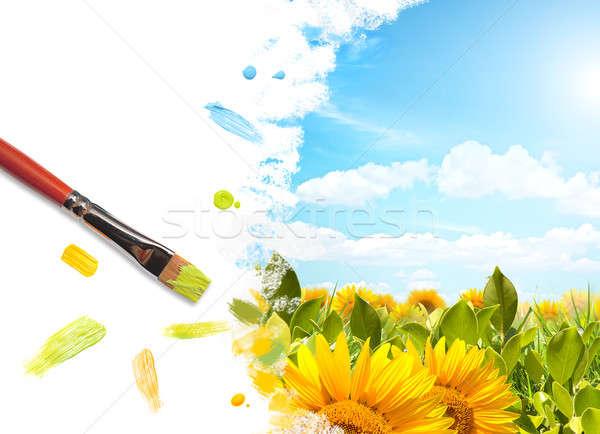 絵画 ヒマワリ 風景 花 紙 ストックフォト © alphaspirit