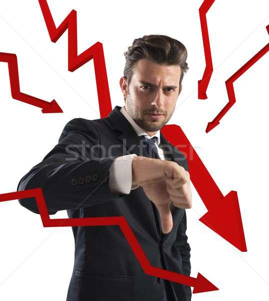 Negatieve business statistiek zakenman Rood pijlen Stockfoto © alphaspirit