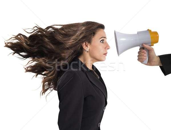 Kobieta interesu przestraszony megafon głośno hałasu działalności Zdjęcia stock © alphaspirit