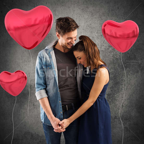 Lovely couple embracing Stock photo © alphaspirit