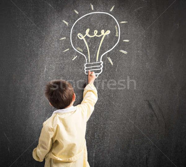Genie Kind Kreide Tafel Glühlampe Bildung Stock foto © alphaspirit