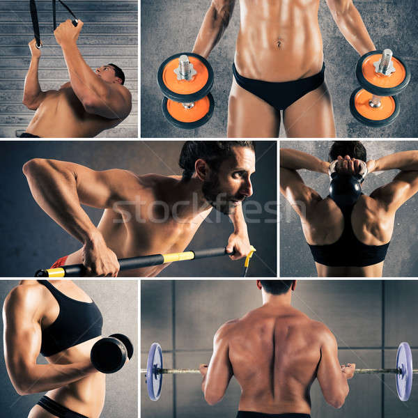 Collage fitness workout Stock photo © alphaspirit