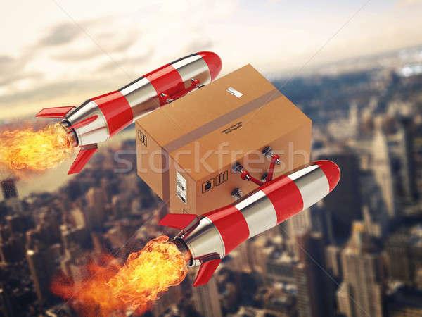 быстро доставки пакет ракета 3D Сток-фото © alphaspirit