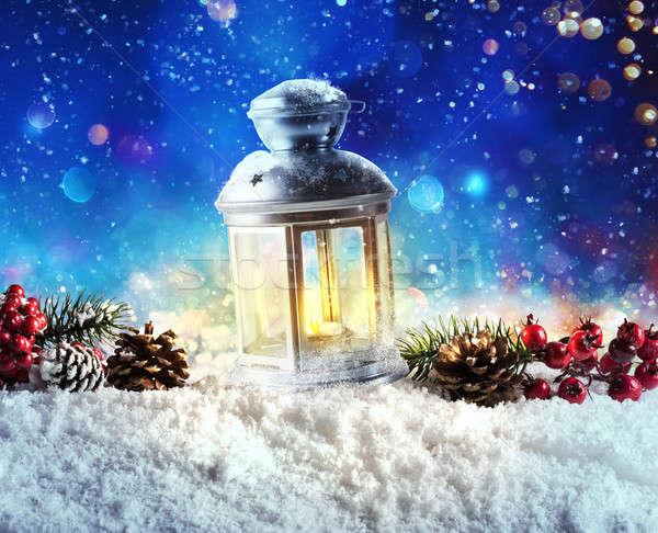 Shiny lantern on a Christmas background during the night Stock photo © alphaspirit