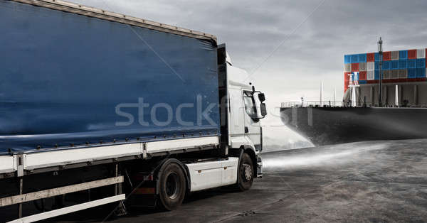 Truck and cargo ship ready to start to deliver Stock photo © alphaspirit