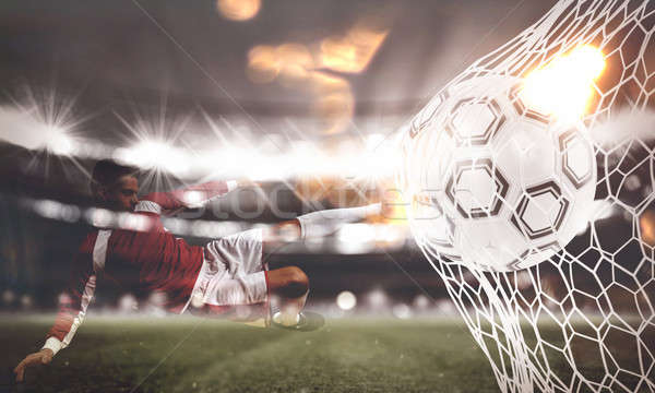 Background of a soccer ball scores a goal on the net. 3D Rendering Stock photo © alphaspirit