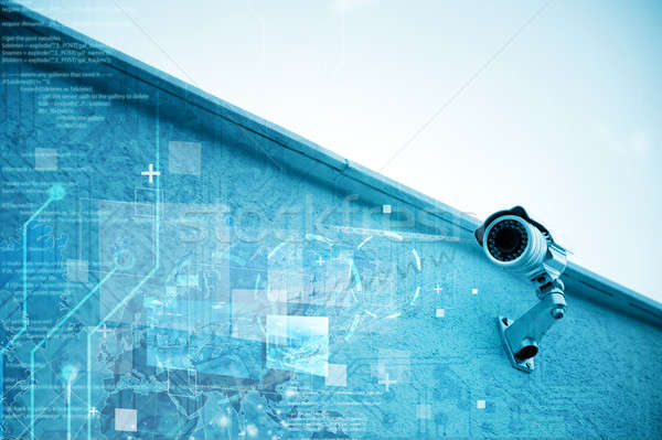 Biztonsági kamera modern megfigyelés épület biztonság videó Stock fotó © alphaspirit