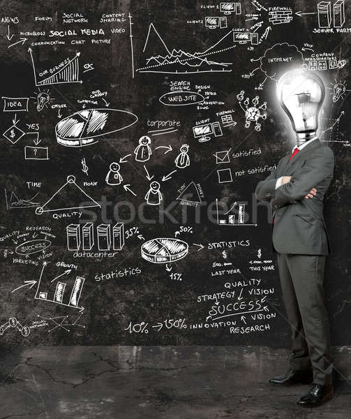 Businessman reflect on new ideas Stock photo © alphaspirit