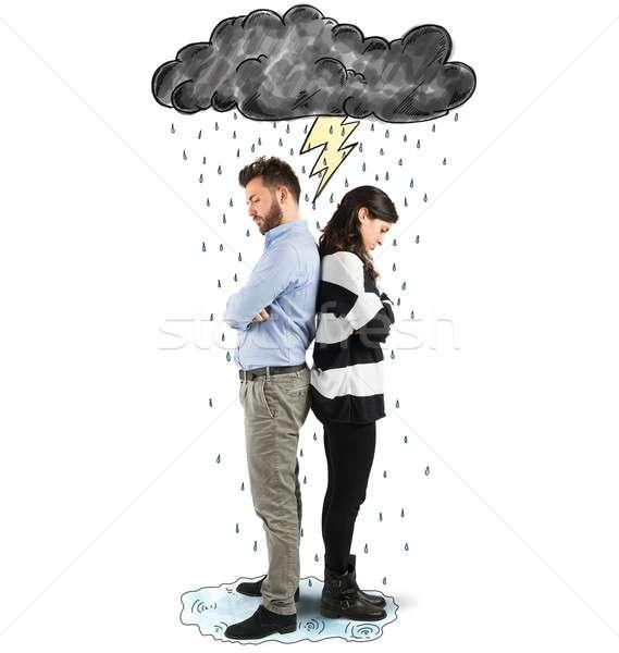 Kavga çift bulut yıldırım yağmur kadın Stok fotoğraf © alphaspirit