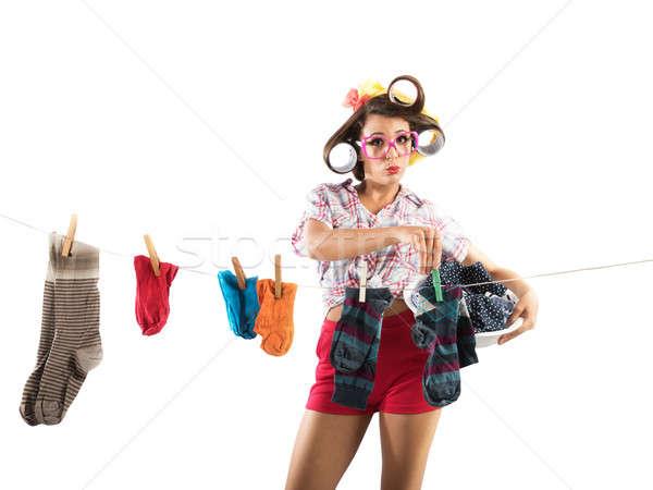 Ruházat klasszikus háziasszony nő kosár szennyes Stock fotó © alphaspirit